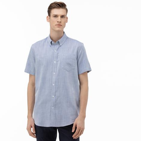 Lacoste Erkek Regular Fit Düğmeli Yaka Kısa Kollu Saks Mavi Gömlek