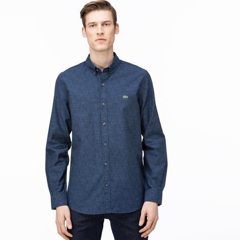 Lacoste Erkek Slim Fit Düğmeli Yaka Desenli Lacivert Gömlek