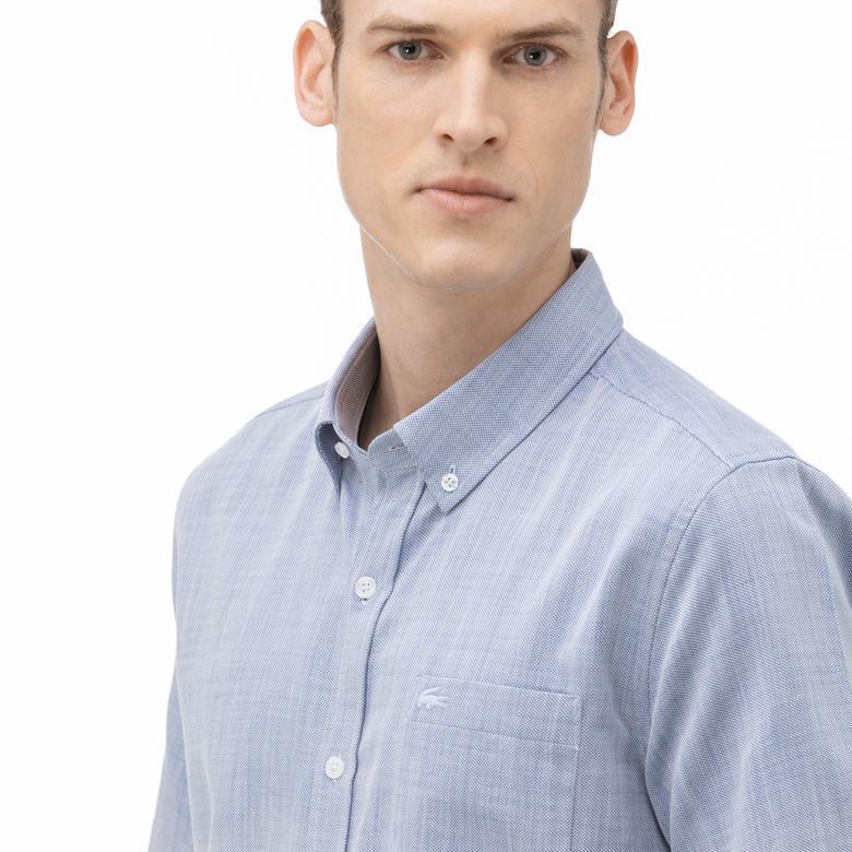 Lacoste Erkek Regular Fit Düğmeli Yaka Kısa Kollu Mavi Gömlek