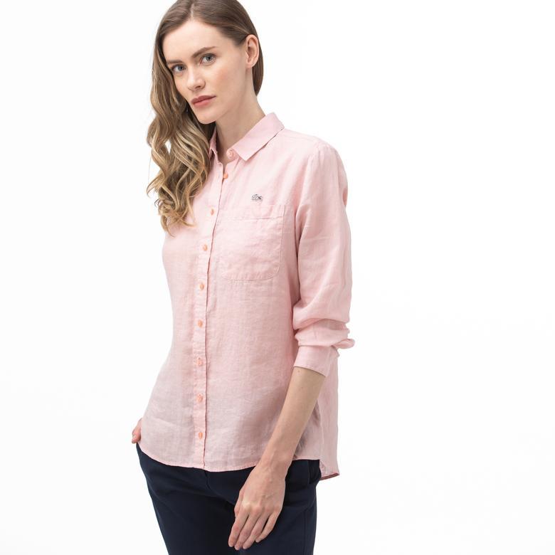 Lacoste Kadın Açık Pembe Keten Gömlek