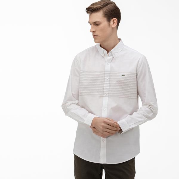 Lacoste Erkek Slim Fit Düğmeli Yaka Açık Bej Gömlek