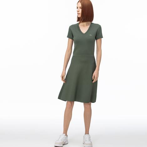 Lacoste Kadın V Yaka Kısa Kollu Haki Elbise