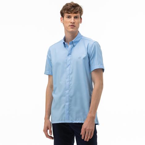 Lacoste Erkek Slim Fit Kısa Kollu Açık Mavi Gömlek