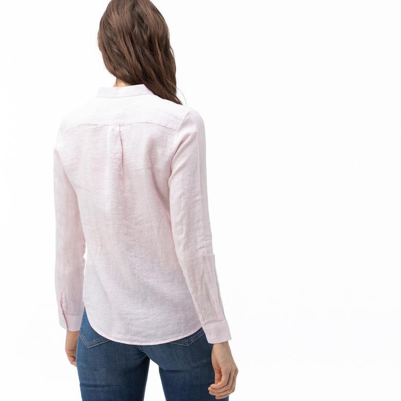 Lacoste Kadın Hakim Yaka Açık Pembe Keten Gömlek
