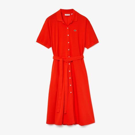 Lacoste Kadın Kırmızı Polo Yaka Kısa Kollu  Elbise