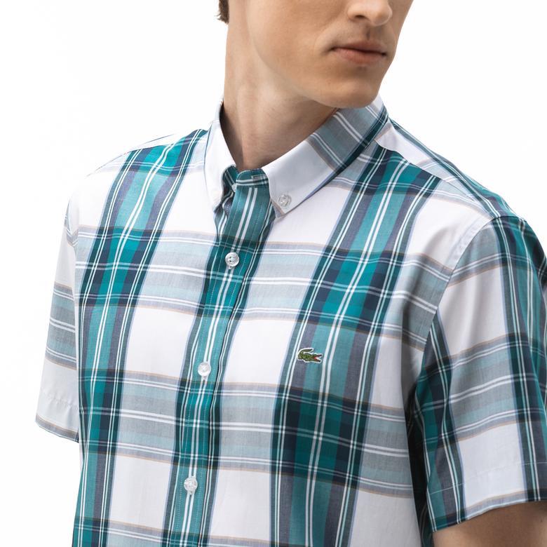 Lacoste Erkek Regular Fit Düğmeli Yaka Ekose Desenli Kısa Kollu Renkli Gömlek