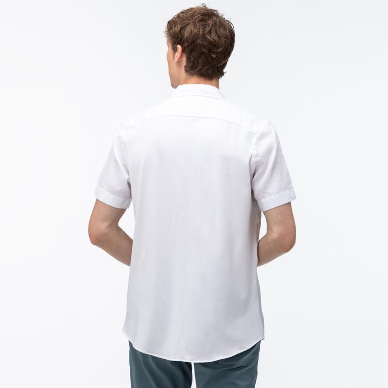Lacoste Erkek Regular Fit Düğmeli Yaka Keten Kısa Kollu Beyaz Gömlek