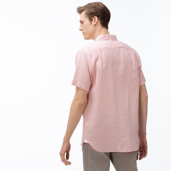 Lacoste Erkek Regular Fit Düğmeli Yaka Kısa Kollu Açık Pembe Keten Gömlek