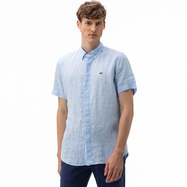 Lacoste Erkek Regular Fit Düğmeli Yaka Keten Kısa Kollu Mavi Gömlek