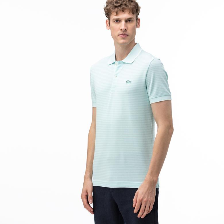 Lacoste Erkek Regular Fit Çizgili Açık Mavi Kısa Kollu Polo