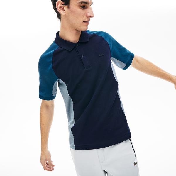 Lacoste Erkek Regular Fit Blok Desenli Mavi Kısa Kollu Polo