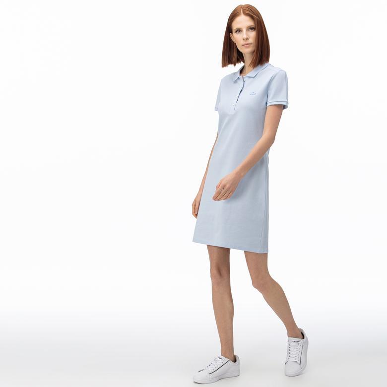 Lacoste Kadın Açık Mavi Polo Yaka Elbise