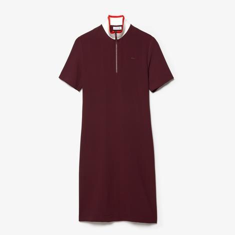 Lacoste Kadın Fermuarlı Yaka Kısa Kollu Bordo Elbise