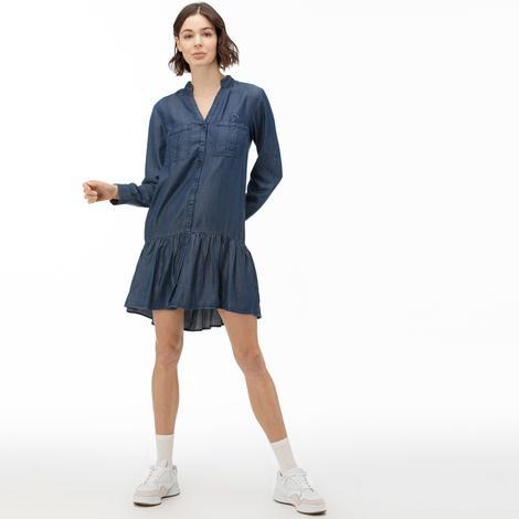 Lacoste Kadın Uzun Kollu Denim Lacivert Elbise