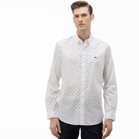 Lacoste Erkek Slim Fit Düğmeli Yaka Desenli Beyaz Gömlek
