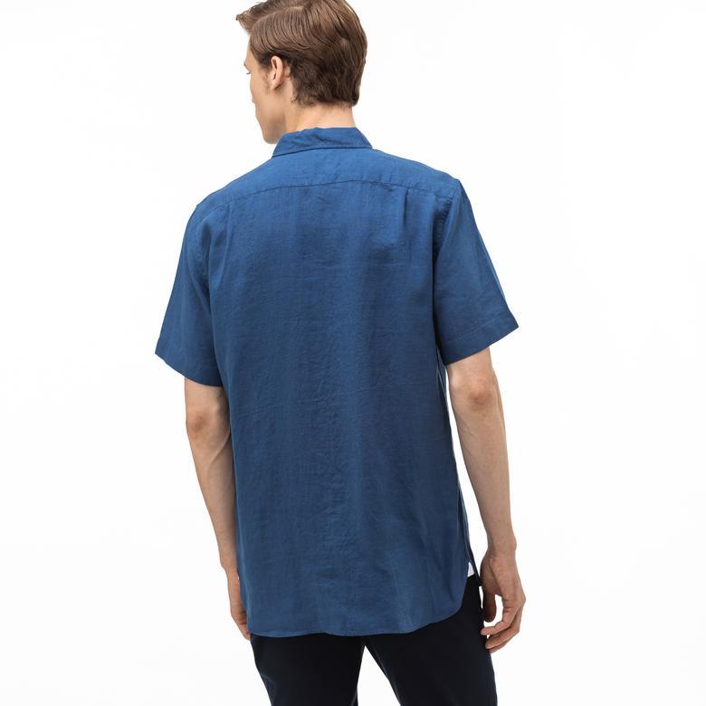 Lacoste Erkek Regular Fit Düğmeli Yaka Kısa Kollu Saks Mavi Keten Gömlek