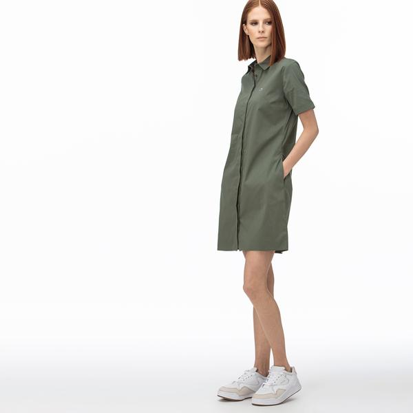 Lacoste Kadın Kısa Kollu Haki Elbise