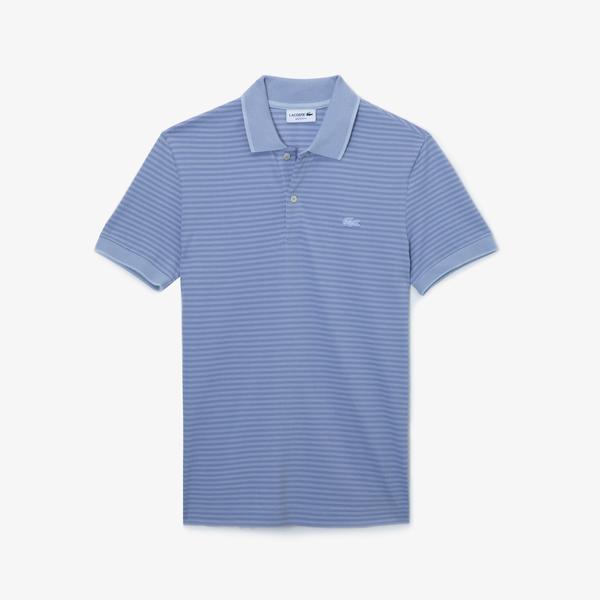Lacoste Erkek Regular Fit Çizgili Mavi Kısa Kollu Polo