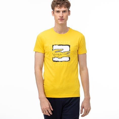 Lacoste Sport Erkek Bisiklet Yaka Baskılı Sarı T-Shirt
