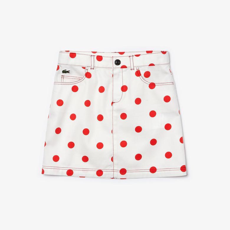Lacoste Çocuk Kırmızı Puantiye Desenli Beyaz Etek