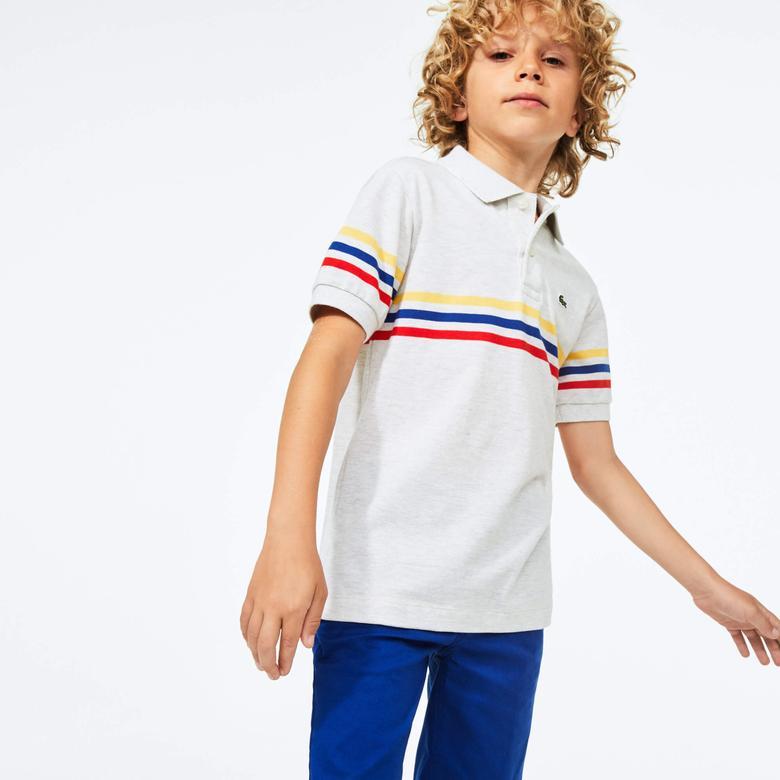 Lacoste Çocuk Çizgili Gri Polo