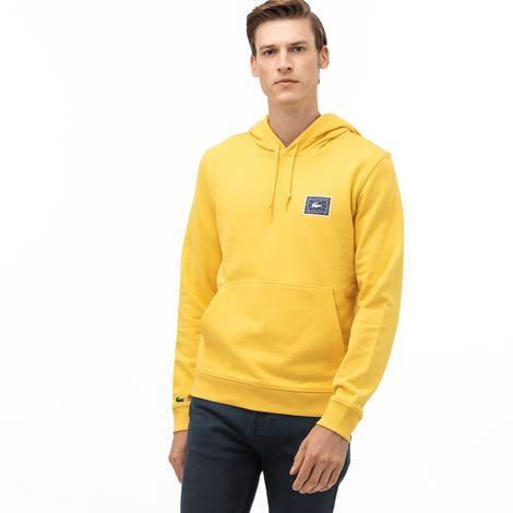 Lacoste Erkek Kapüşonlu Baskılı Sarı Sweatshirt