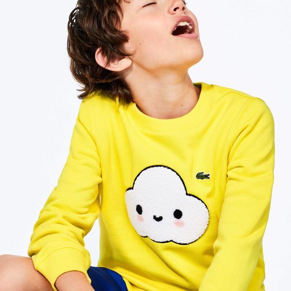 Lacoste X FriendsWithYou Çocuk Bisiklet Yaka Baskılı Sarı Sweatshirt