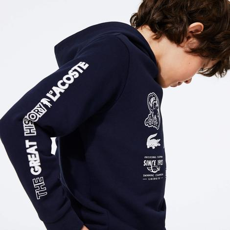 Lacoste Çocuk Kapüşonlu Baskılı Lacivert Sweatshirt