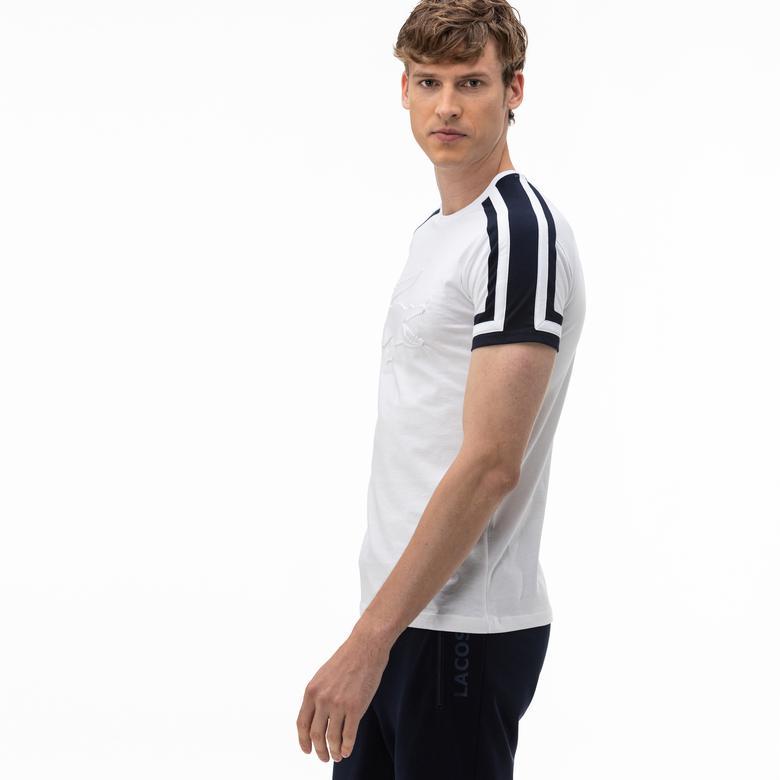Lacoste Erkek Bisiklet Yaka Blok Desenli Baskılı Beyaz T-Shirt