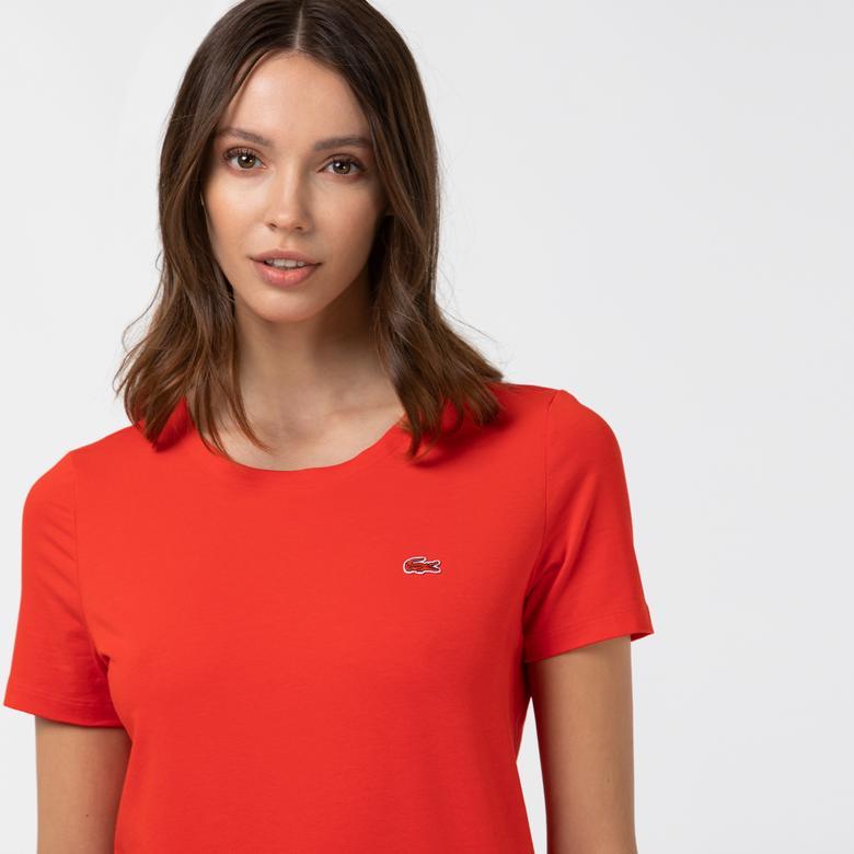 Lacoste Kadın Bisiklet Yaka Kırmızı T-Shirt