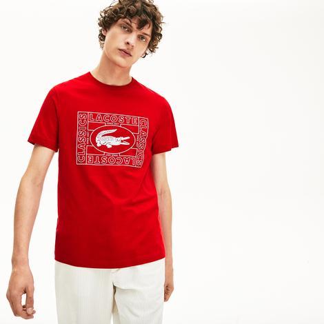 Lacoste Erkek Bisiklet Yaka Baskılı Kırmızı T-Shirt