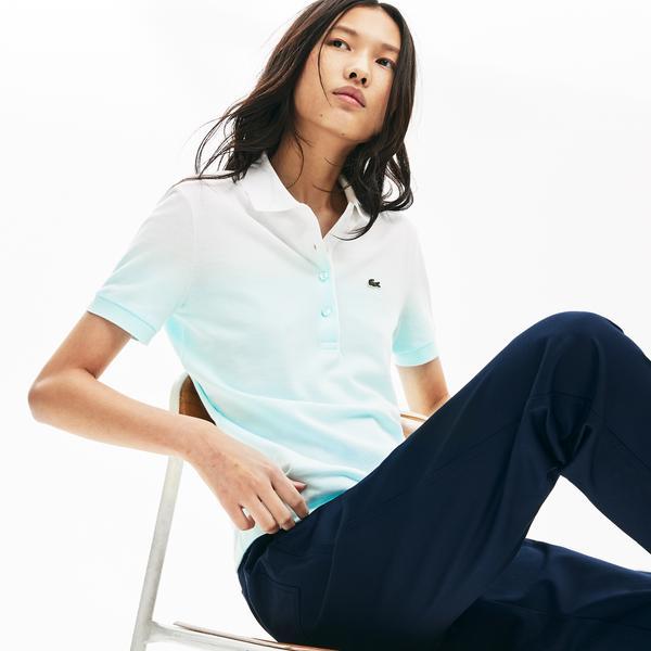 Lacoste Kadın Degrade Açık Mavi - Beyaz Kısa Kollu Polo