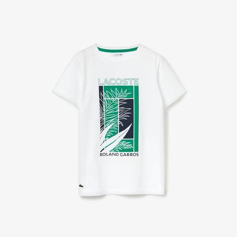 Lacoste Sport Çocuk Bisiklet Yaka Baskılı Beyaz T-Shirt