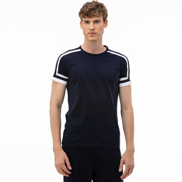 Lacoste Erkek Bisiklet Yaka Blok Desenli Baskılı Lacivert T-Shirt
