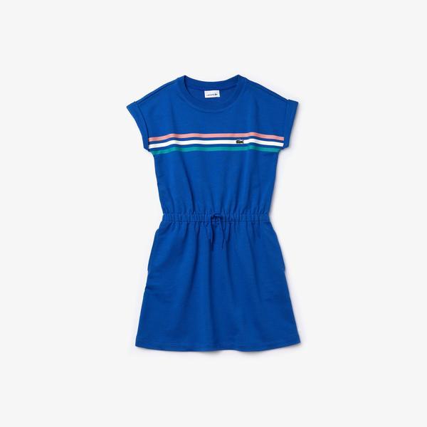 Lacoste Çocuk Çizgili Bisiklet Yaka Kolsuz Saks Mavi Elbise