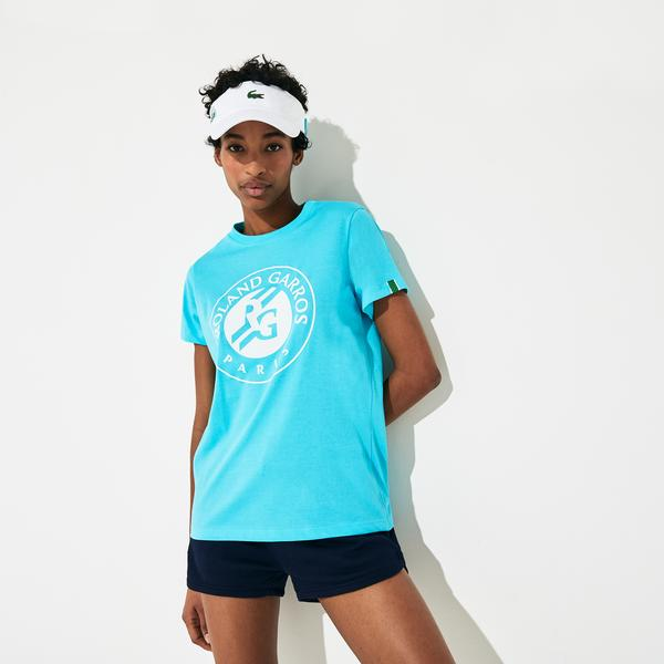 Lacoste Sport Kadın Bisiklet Yaka Baskılı Mavi T-Shirt