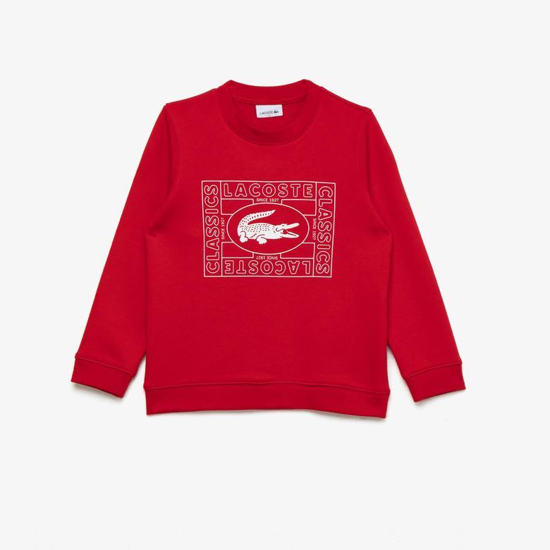 Lacoste Çocuk Bisiklet Yaka Baskılı Kırmızı Sweatshirt