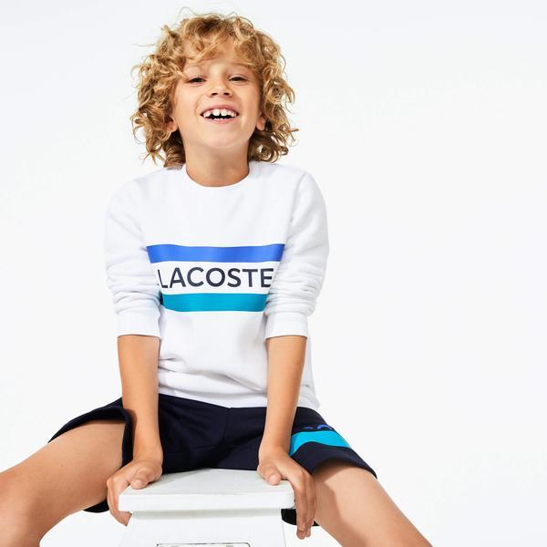 Lacoste Sport Çocuk Bisiklet Yaka Baskılı Beyaz Sweatshirt
