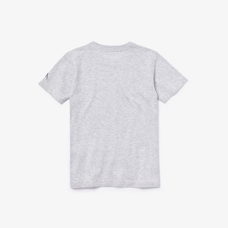 Lacoste Sport Çocuk Bisiklet Yaka Timsah Baskılı Gri T-Shirt