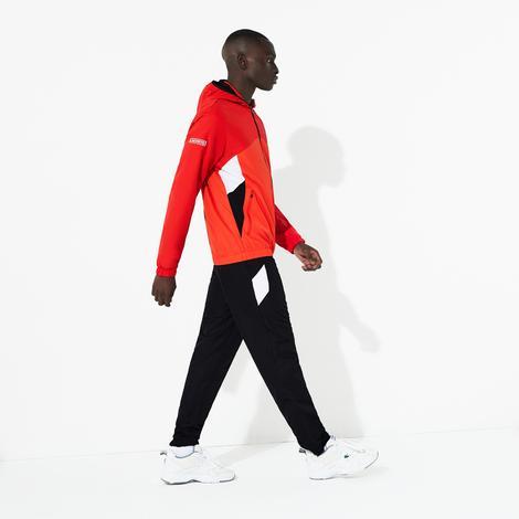 Lacoste Sport Erkek Fermuarlı Blok Desenli Uzun Kollu Kırmızı-Siyah Eşofman Takımı