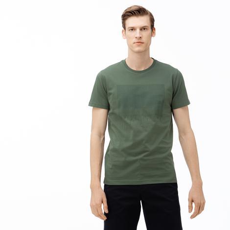 Lacoste Erkek Bisiklet Yaka Timsah Baskılı Haki T-Shirt