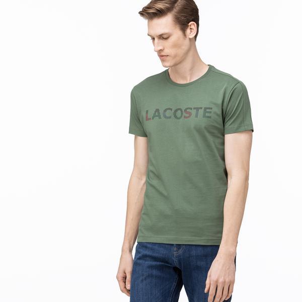 Lacoste Erkek Bisiklet Yaka Baskılı Haki T-Shirt
