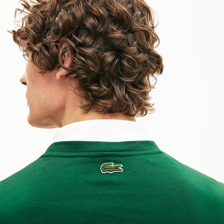 Lacoste Erkek Bisiklet Yaka Baskılı Yeşil T-Shirt