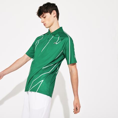 Lacoste Sport Erkek Desenli Yeşil - Beyaz Kısa Kollu Polo
