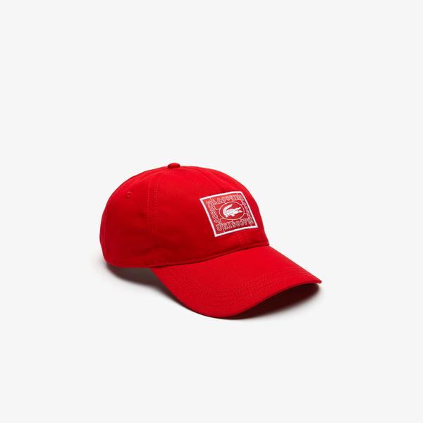 Lacoste Unisex Timsah Baskılı Kırmızı Şapka