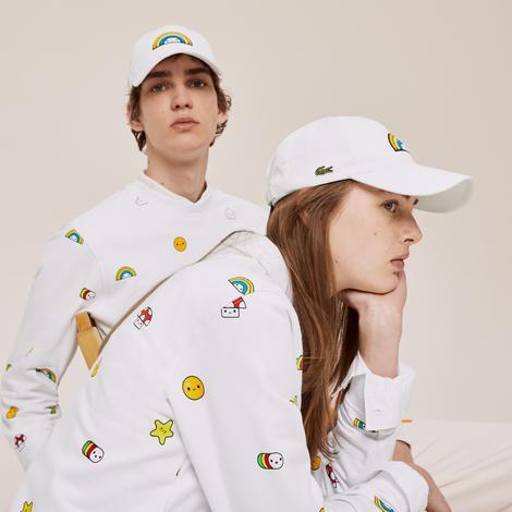 Lacoste X FriendsWithYou Unisex Desenli Beyaz Şapka