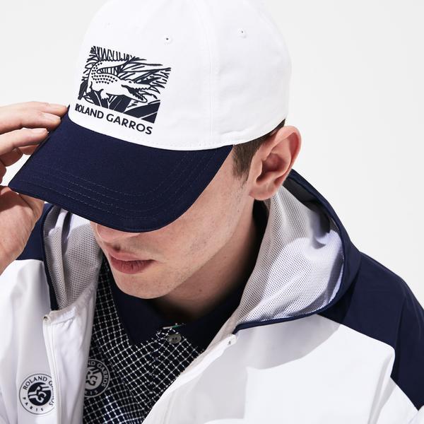 Lacoste Sport Roland Garros Unisex Timsah Baskılı Beyaz - Lacivert Şapka