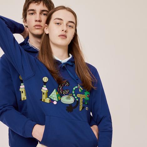Lacoste X Jeremyville Unisex Kapüşonlu Baskılı Saks Mavi Sweatshirt