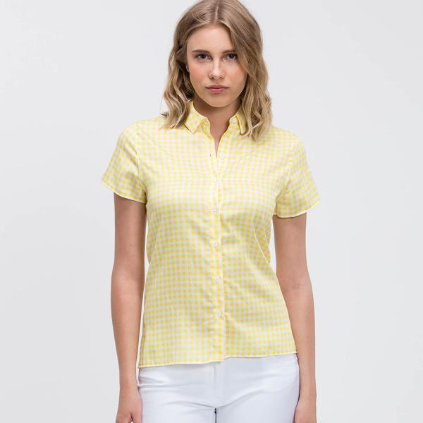 Lacoste Kadın Regular Fit Kısa Kollu Sarı Gömlek