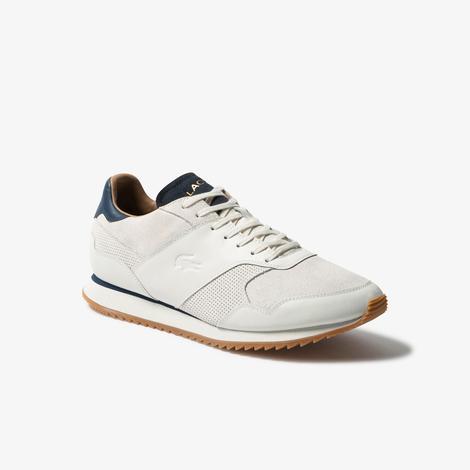 Lacoste Aesthet Luxe 120 1 Sma Erkek Beyaz - Lacivert Deri Ayakkabı